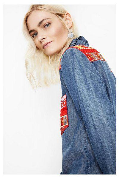 Desigual shirt exotic denim jeans blue blouse red ethnic print spijkerstof blauw rode print