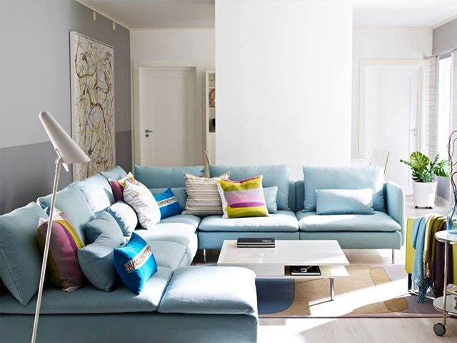 blue ikea sectional sofa has my name written all over it