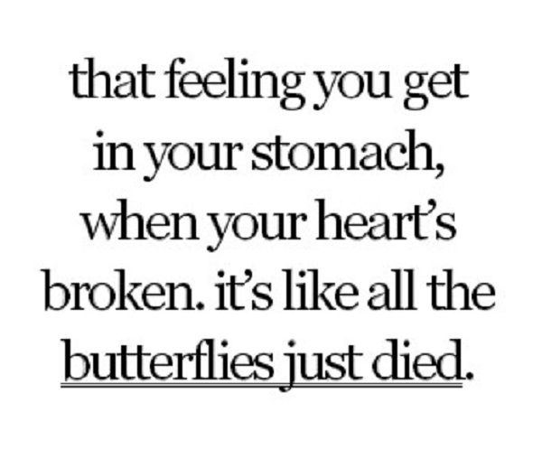 That feeling you get in your stomach, when your heart's broken. It like all the butterflies just died.