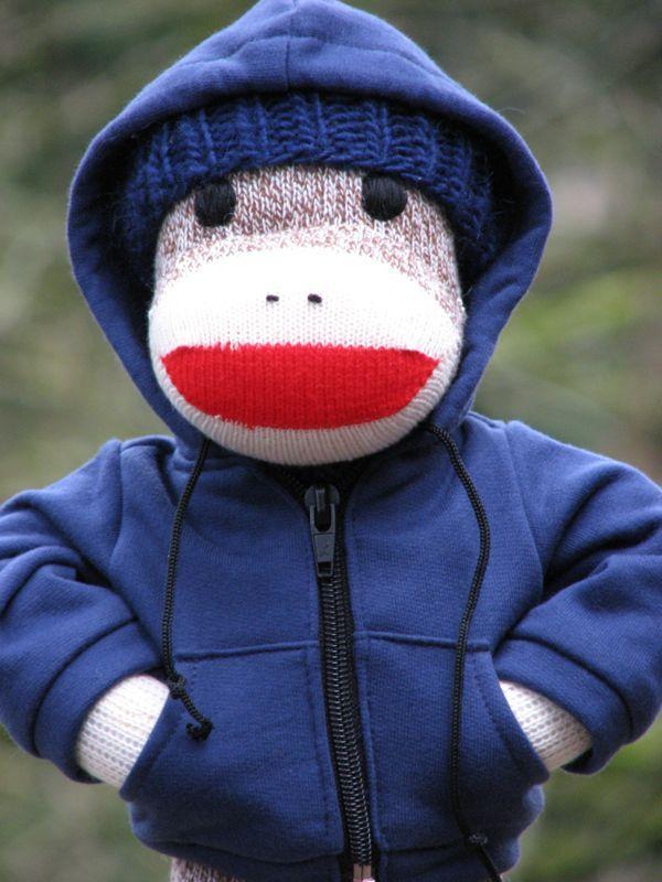 Hoody monkey!  Best sock monkey site!