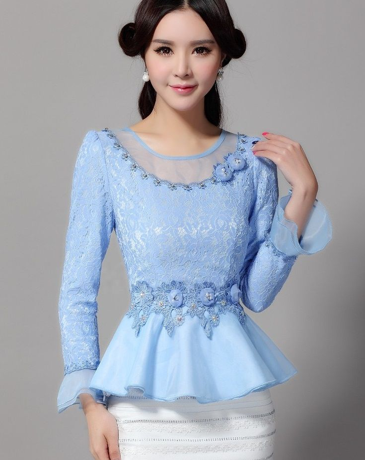 2016 gaze rendas de manga comprida mulheres bordado lace ruffles blusas mulheres azul peplum blusas Chiffon top(China (Mainland))