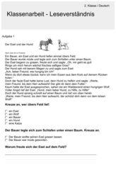 Leseverständnis - Deutsch 2. Klasse