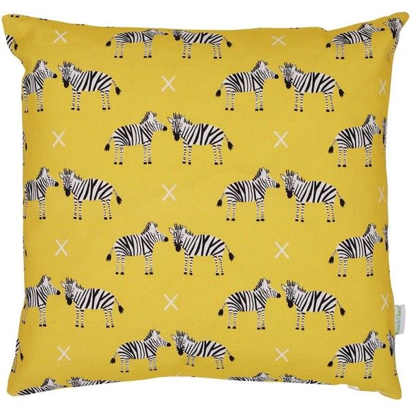 Rosa & Clara Designs - Zebras Cushion ($57) ❤ liked on Polyvore featuring home, home decor, throw pillows, zebra home accessories, zebra throw pillows, yellow home accessories, yellow accent pillows and yellow home decor
