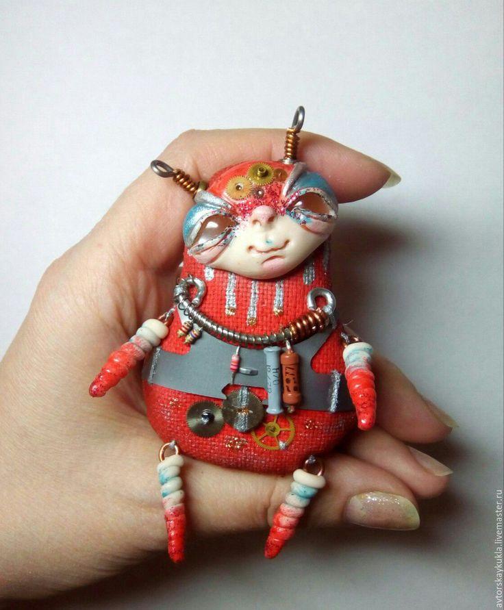 Купить Космоброшь. - ярко-красный, брошь, украшение, авторские украшения, ручная работа, инопланетянин