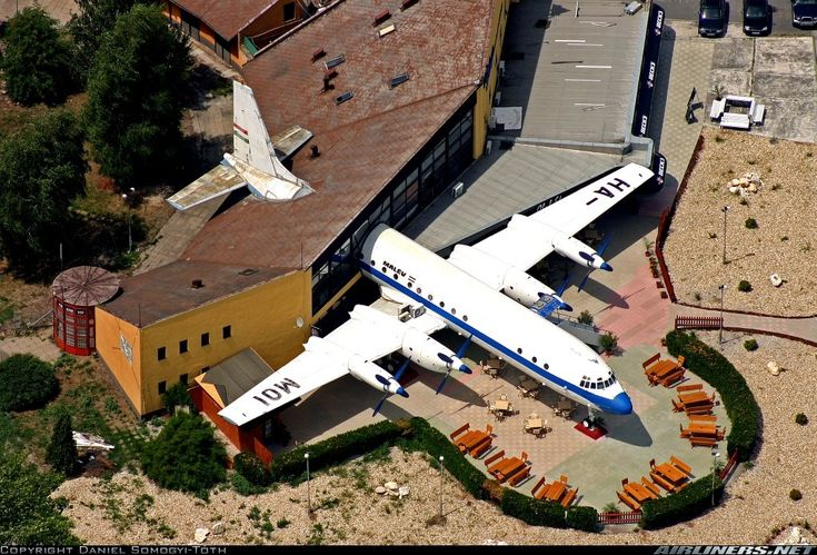 A Malev Ilyushin Il-18D operating as a restaurant in Abda, Hungarian village near Gyor