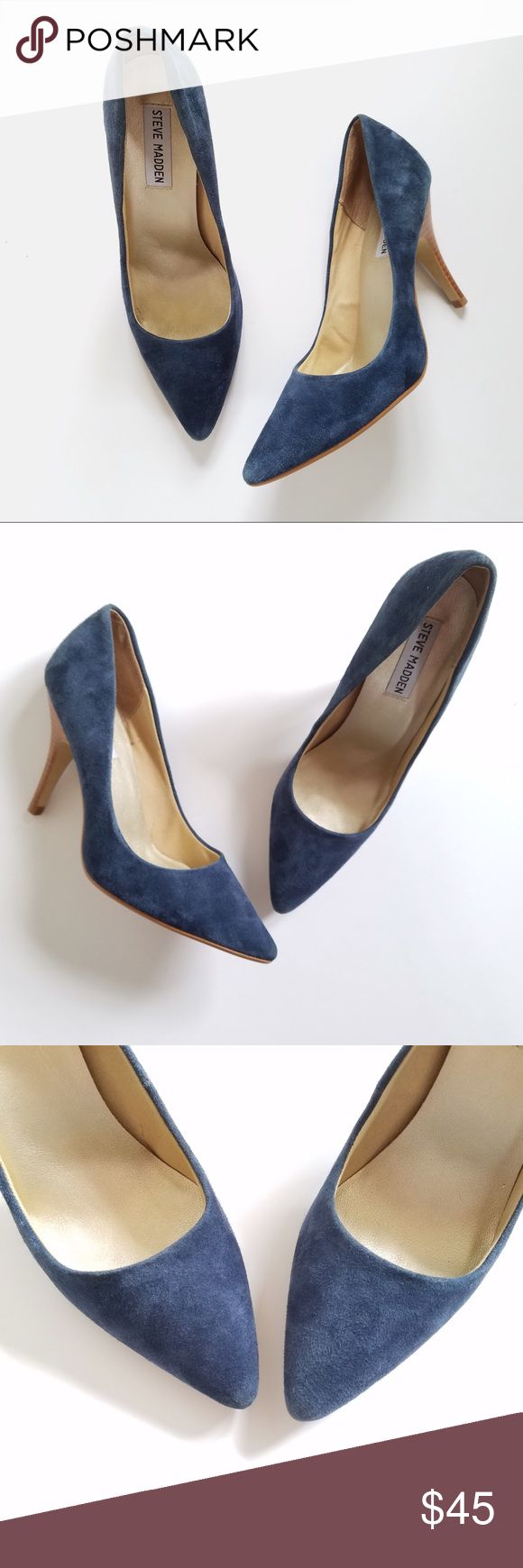 "Steve Madden Blue Suede Pumps Steve Madden Blue Suede 'Carmila' Pumps. Size 8. Excellent, Like New Condition! Light wear on bottoms, as shown. Approximate Heel Height: 4"". All Reasonable Offers Accepted. No Trades! Bundles: 20% OFF 2 or More! Steve Madden Shoes Heels"
