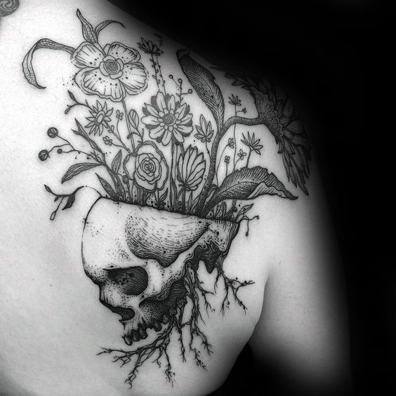 Skull With Flowers Growing Mens Life Death Shoulder Tattoos