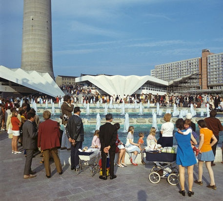 Water Play at Alexanderplatz, East Berlin. Photographed in May 1972