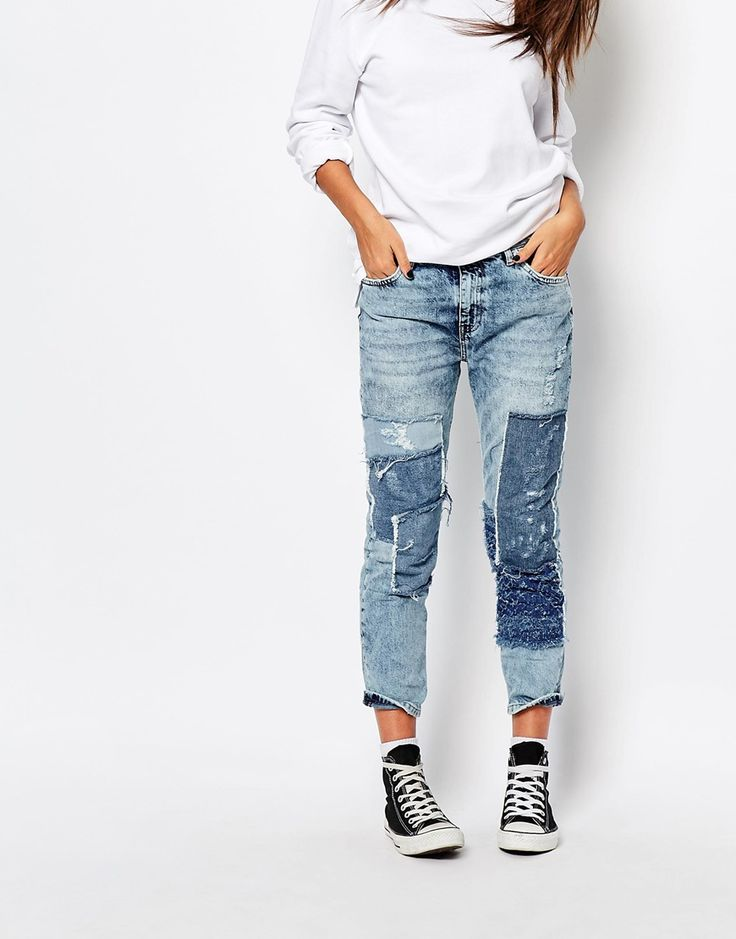 Image 1 of Pull & Bear Patchwork Slim Girlfriend Jeans