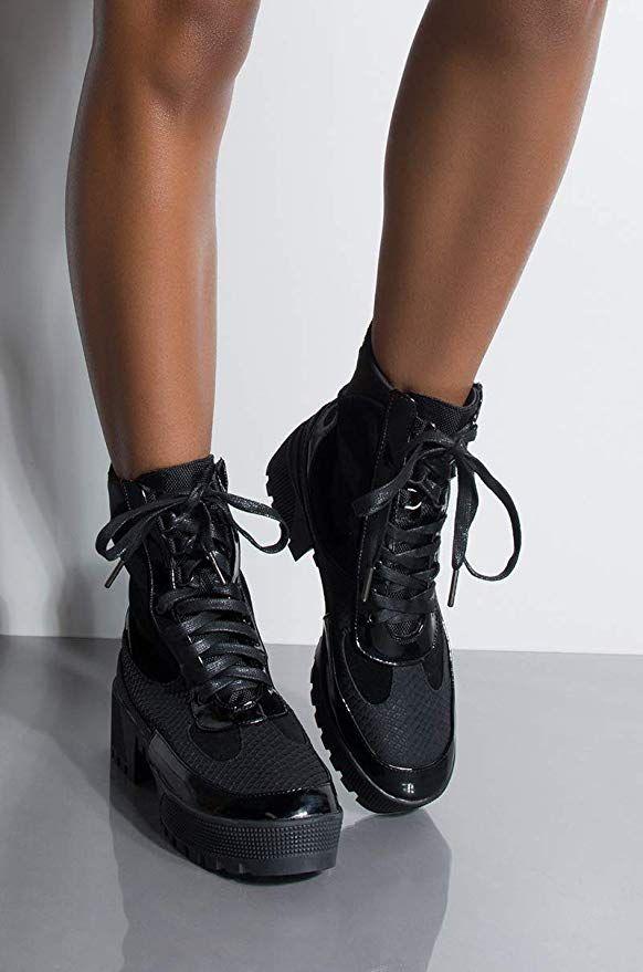 4f6e9d146e7 Amazon.com  CAPE ROBBIN Lace Up Lug Sole Chunky Heel Paneled Military Combat  Boots  Clothing