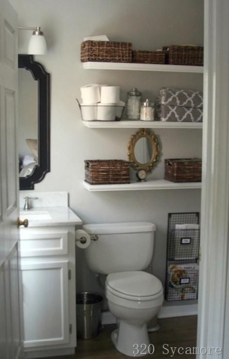 White open shelving in bathroom: Above Toilets, Floating Shelves, Bathroom Makeovers, Bathroom Storage, Small Bathrooms, Magazines Racks, Bathroom Ideas, Bathroom Shelves, Smallbathroom