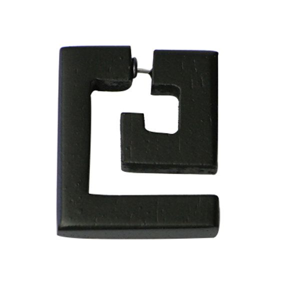 This Tribalschmuck is one earring from sono wood in black, it shows a large rectangular fake spiral. The fake piercing has a nickel-free hanger made of 316 l surgical stainless steel. Size: approx. 3.2 cm long and 2.8 cm wide.   !!! Price per earring, suitable bracket for a regular (ungedehntes) ear piercing