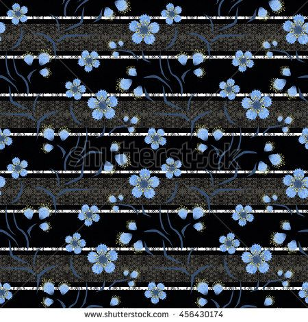Floral seamless pattern , cute blue flowers black  background gray stripes .