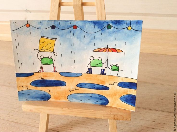 Купить Непогода - синий, дождь, дождик, лягушка, лягушки, жаба, лужи, зонт, зонтик, акварель