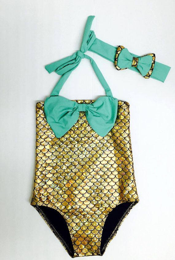 91c487f2ad Aqua Gold One Piece Mermaid Swimsuit