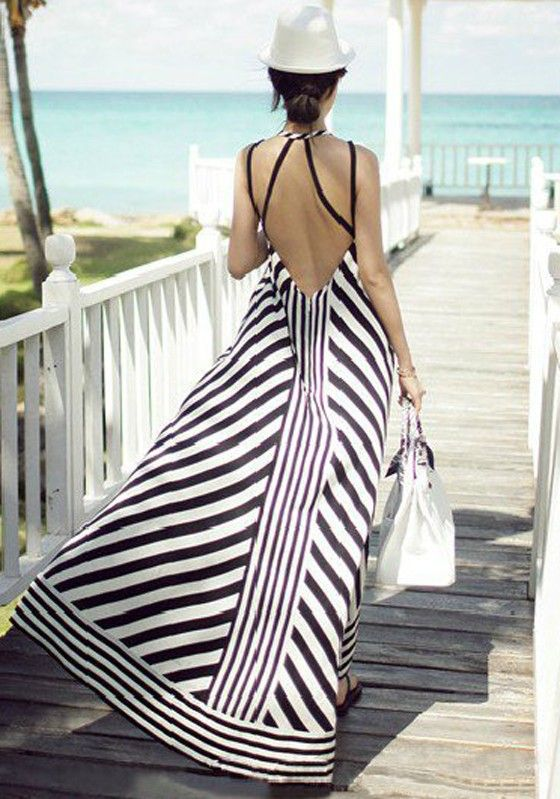 Black Striped Sleeveless Maxi Dress