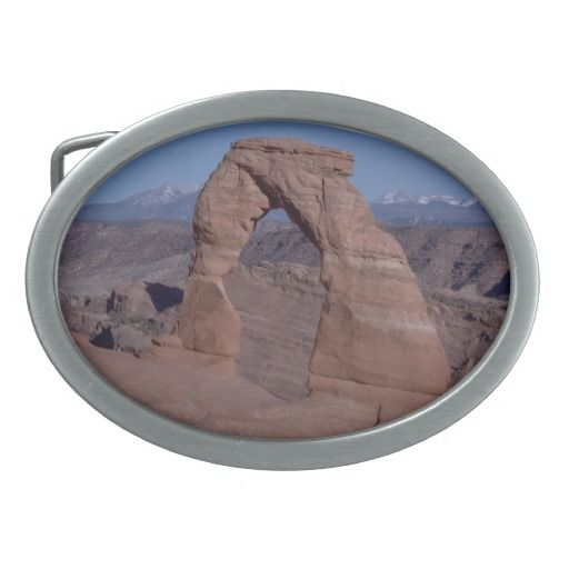 arches national park arch on side of cliff oval belt buckle