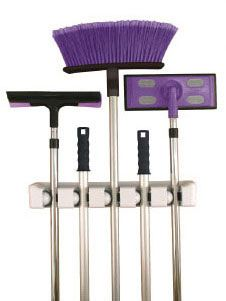 Store and organize your brooms mops and other household cleaning tools on the innovative Five Slot Magic Mop and Broom Holder.  The rolling ball design of this broom organizer grips handles of varying thickness making it perfect for holding mops and brooms in a utility closet or yard tools in the garage.Five Slot M