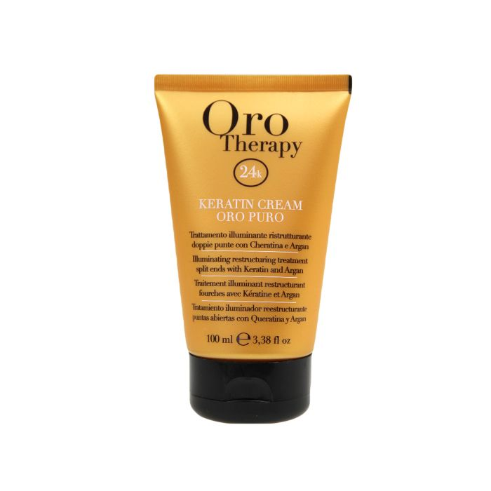 Fanola Oro Therapy 24k Keratin Cream 100ml Illuminating restructuring treatment split ends with Keratin, Argan oil and UV filter. Enriched with Micro-Active Gold, repairs split ends and protects the cuticle of dry, frizzy and treated hair, giving tone, body and smoothness. www.fanola.com.au