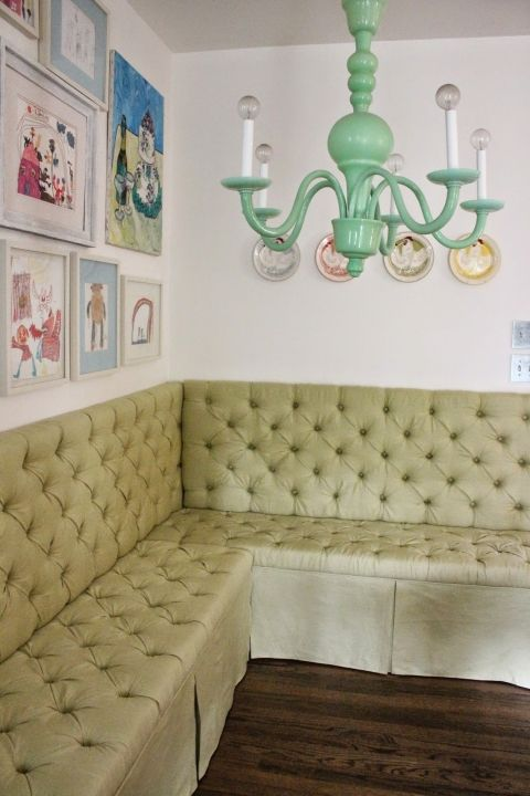 And how is this for AMAZING?  Suzanne at Back on the Festive Road created this stunning banquette out of Ikea Besta shelves.  WHAT?!  Amazing.  Full tutorial on her blog.