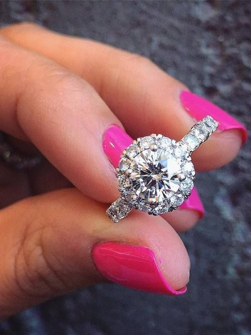 Engagement ring and wedding rings from Jean Pierre Jewelers 05 / http://www.deerpearlflowers.com/halo-engagement-rings-wedding-rings/ #engagementrings
