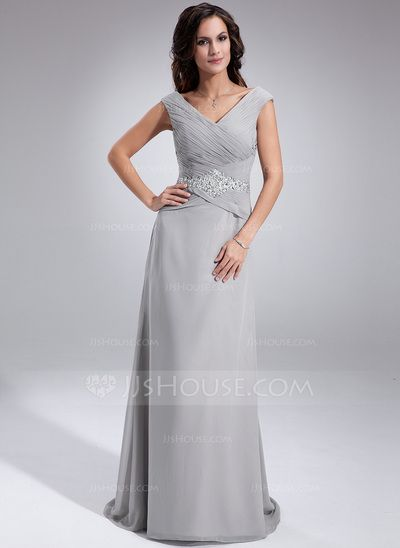 [US$ 136.99] A-Line/Princess Off-the-Shoulder Sweep Train Chiffon Mother of the Bride Dress With Ruffle Beading Sequins