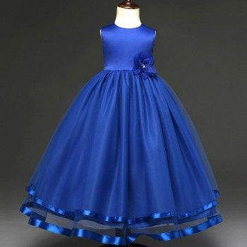 Rose Accented Long Wedding Dress in Dark Blue for Girls