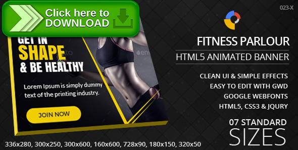 [ThemeForest]Free nulled download Fitness Parlour - HTML5 ad banners from http://zippyfile.download/f.php?id=43704 Tags: ecommerce, ad banners, Ad template, animated banner, excercise, fitness, google web designer, gwd, gym, html5, ladies gym, parlour, simple, yellow