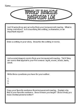 This is a weekly reading response log that students can use when writing about their independent reading log.  I use this type of log with my students.  There are five reading reflection prompts, and we do one each day.  The students write their reflections in a composition book.