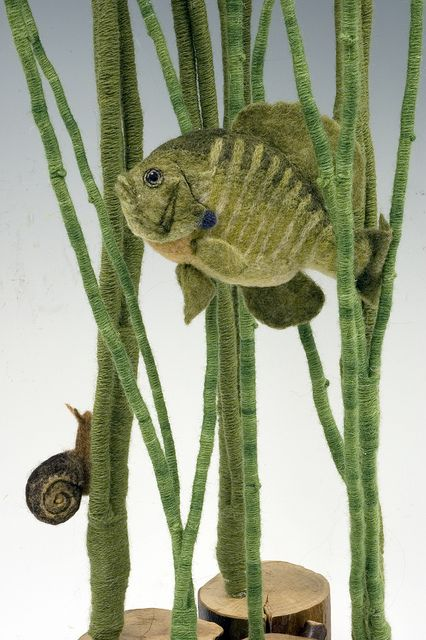 Needle felted fish and snail scene