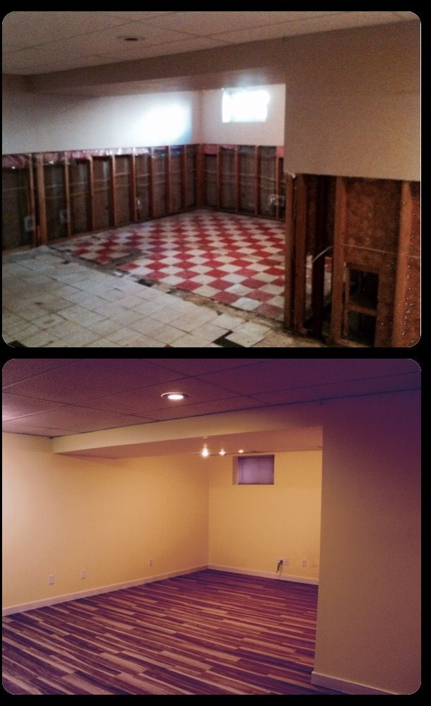 This is from a basement that had severe water damage from a burst pipe/sewer damage. This was to be a very basic basement renovation.  We removed and disposed of the compromised drywall and flooring.  Re-insulated, drywalled, prime/painted to their specs. and installed new laminate flooring.  http://www.mavbuild.com/residential.php