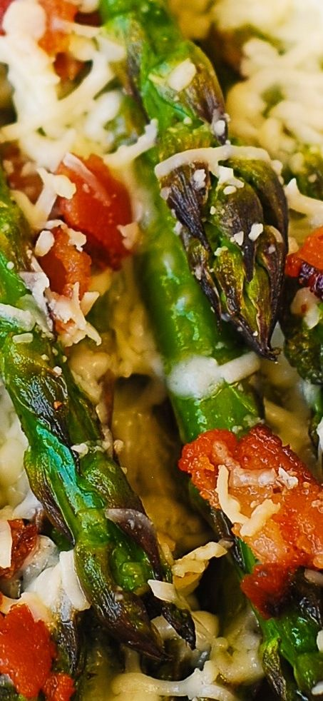 Asiago Cheese, Bacon, and Garlic Roasted Asparagus - THE BEST WAY to cook asparagus! Perfect Spring and Summer recipe! 30-minute recipe.