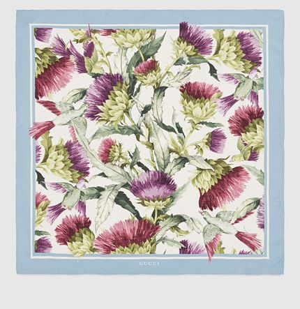Gucci Thistles and Birds Print Silk Scarf