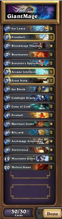 """""""Giant"""" mage deck which might be very shocking to most players.  #Blizzard #Hearthstone #Legend #UCBx432"""