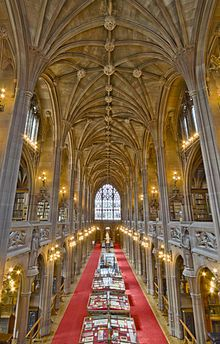 John Rylands Library - Wikipedia, the free encyclopedia. The John Rylands Library is a late-Victorian neo-Gothic building on Deansgate in Manchester, England.