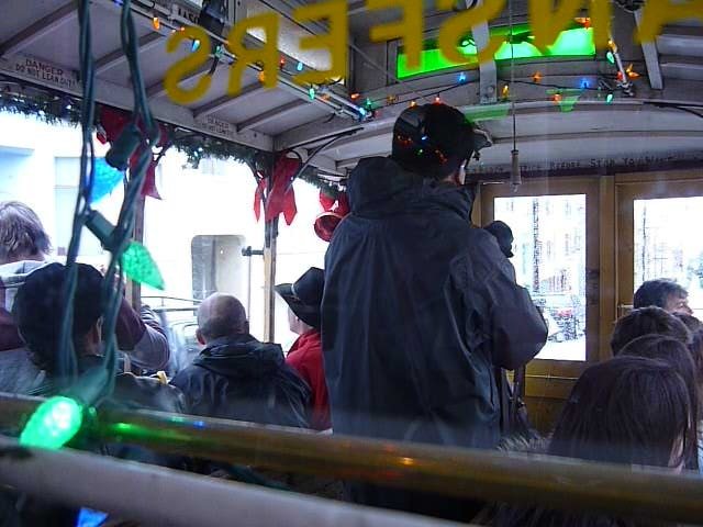 Even the cable car is decorated for Christmas