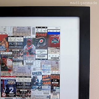 Custom Ticket Art  Frame from IKEA: Concerts Ticket, Diy Ideas, Art Frames, Ticket Art, Sports Ticket, Art Sports, Diy Wall Art, Frames Art, Sports Decor Diy