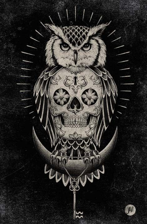 Owl and Skull illustration by Javier Ruiz Flores and more art inspirations and skull designs at skullspiration.com
