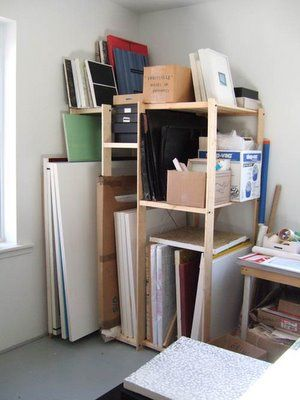 A trip to IKEA coupled with a little brainstorm and for about $50 and very little labor I have myself a nice little painting rack/storage area