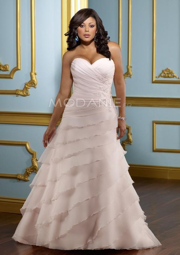 A-ligne robe de mariée grande taille col en cœur applique ruche traîne courte [#M1407226216] - modanie