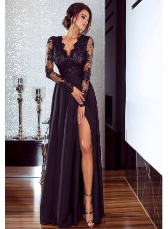 c83063b902b4c Modern Lace Sleeve Front Split Long Prom Dress in 2019 | Beauty ...
