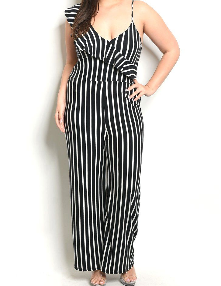 0163bdbef22  43++Plus+Size+One+Ruffle+Sleeve+Spaghetti+Strap+Stripe+Wide+Leg+Jumpsuit