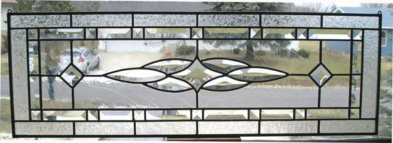 Vintage Design Window. Clear Beveled Stained by IllinoisArtGlass