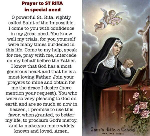 ~Prayer to St. Rita - In special need