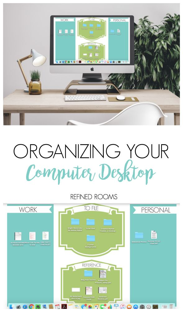 Check out these computer desktop organization tips and tricks {and download your FREE desktop organizer wallpaper!} at Refined Rooms