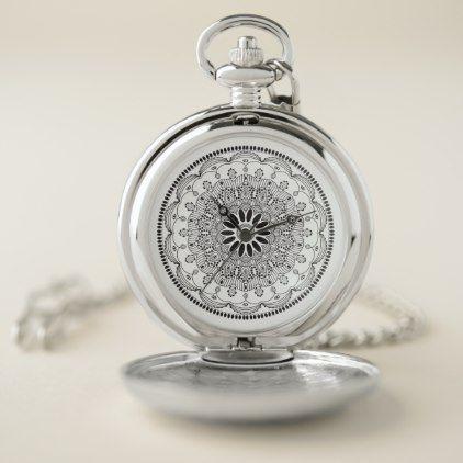 Ladies Modern Simple Mandala Design Pocket Watch - black gifts unique cool diy customize personalize