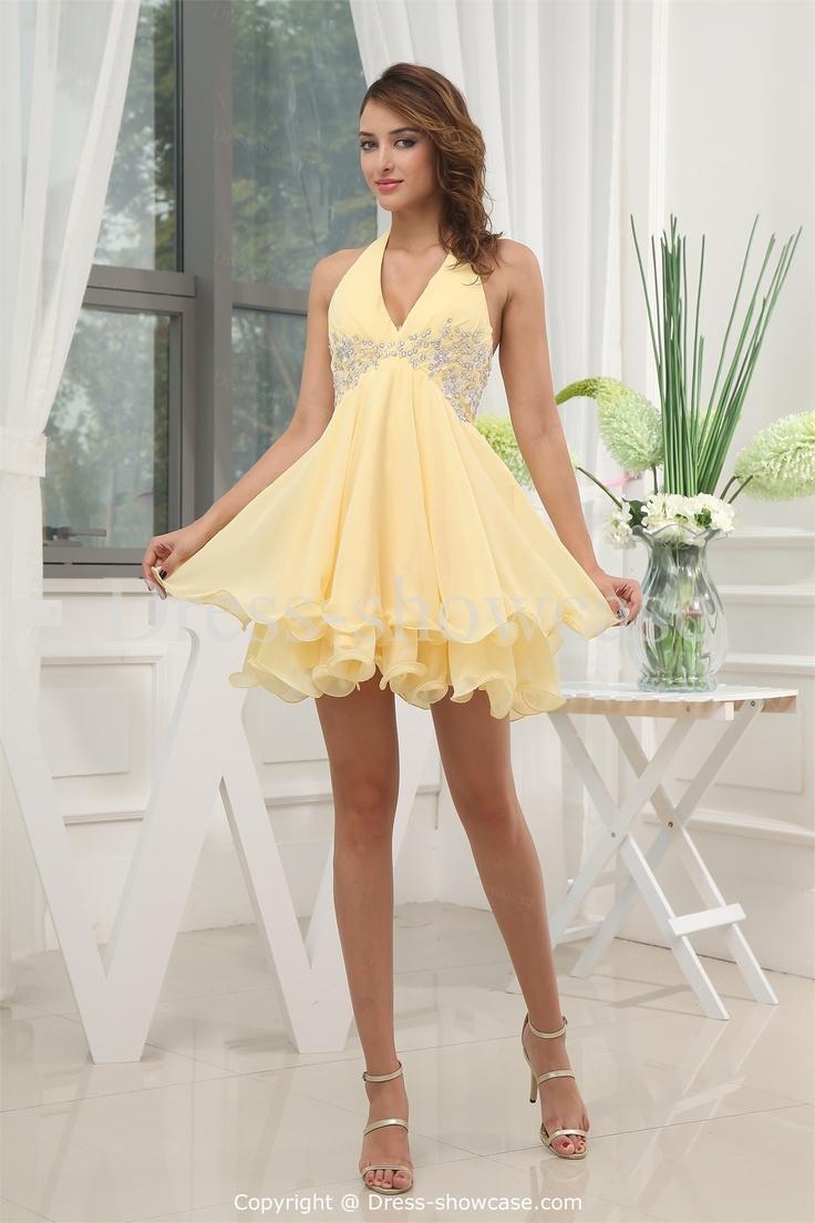 Mini Daffodil Satin Sweet 16 Dress