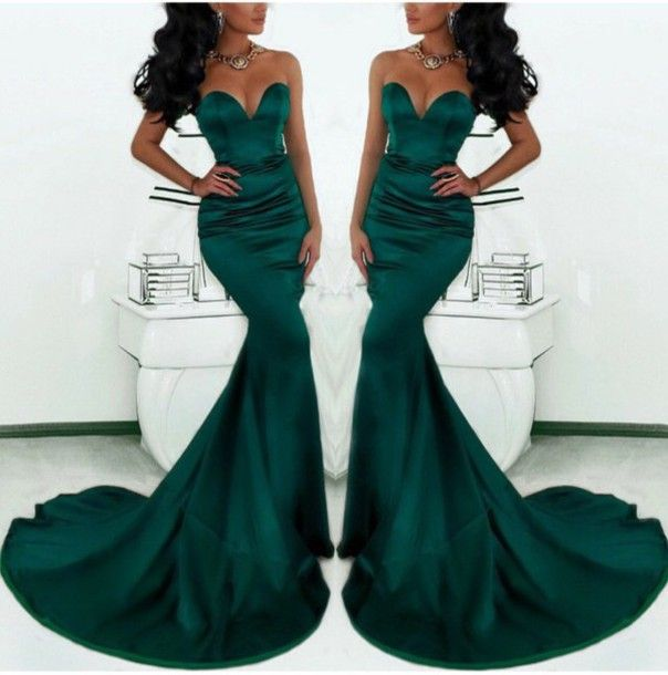 emerald green evening dress,long prom dress,fomal evening gowns with train,mermaid prom dresses 2015
