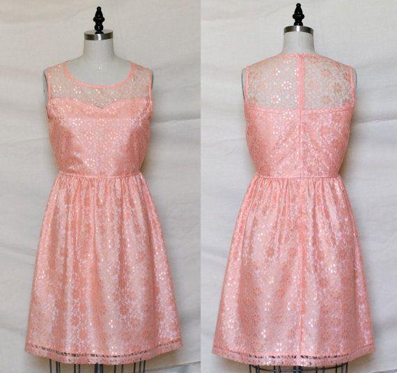 PROVENCE Peach  Peach lace dress sweetheart neckline  by mfandj, $55.00
