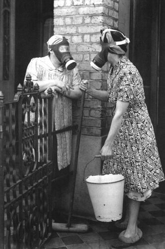 neighbours in war time England | gas masks | war | ladies | chatting | catch up | cleaning | moping